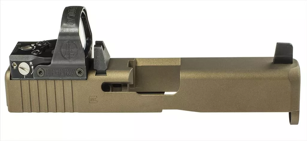 Race mount, forward dovetail for Leupold Deltapoint Pro RDS. OEM slide has been refinished with Gold Cerakote.