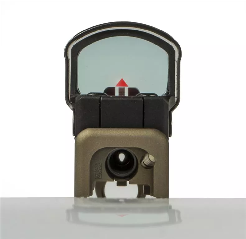 Actual sight picture of Race Mount with Front Dovetail and black, Ameriglo suppressor height sights; through the lens of a Leupold Deltapoint Pro, 7.5 MOA Delta reticle.