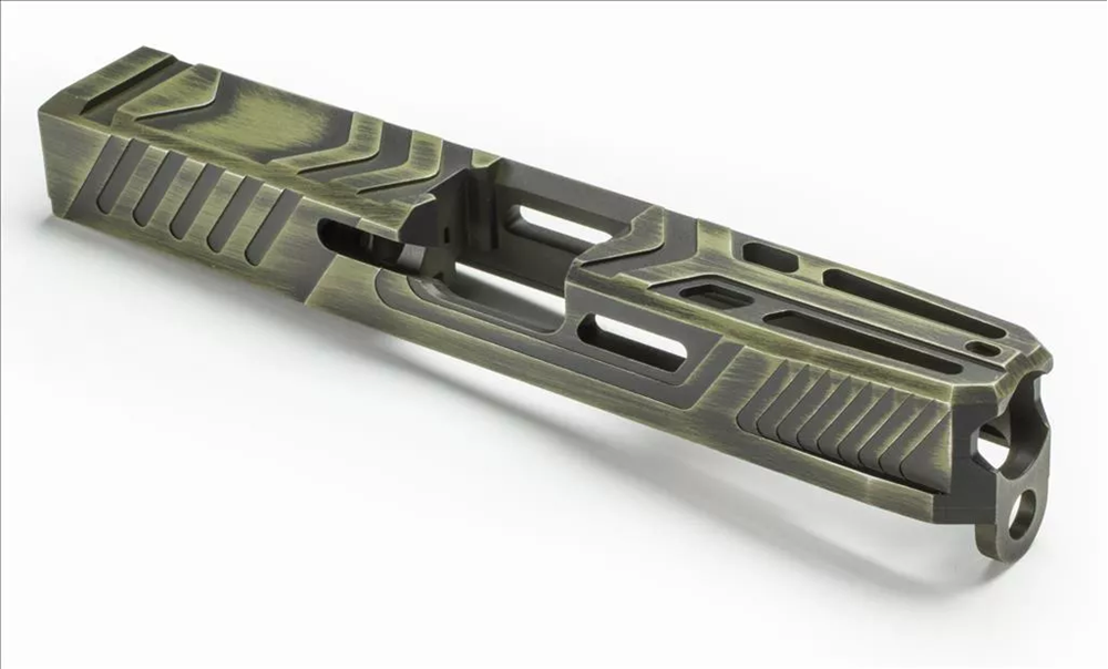 Bazooka Green Battleworn finish applied to custom machined AlphaWolf slide (CMS11)